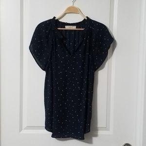 Ann Taylor Loft Navy Blue Blouse with Stars